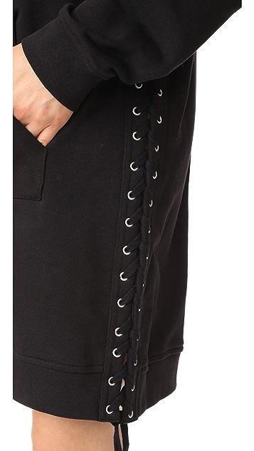 McQ - Alexander McQueen Eyelet Zip Through Hooded Dress
