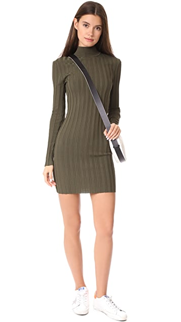 McQ - Alexander McQueen Кружевное платье в рубчик с вырезом