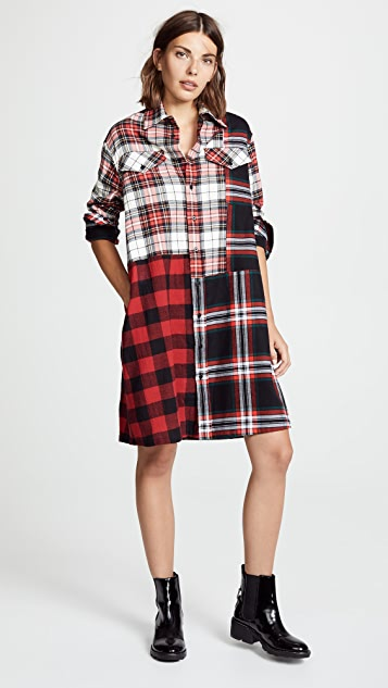 McQ - Alexander McQueen Patched Tartan Shirt Dress