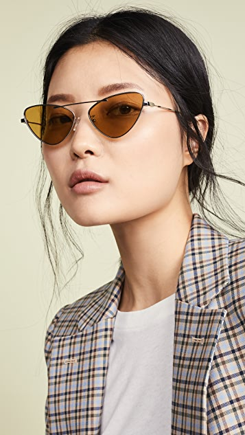 McQ - Alexander McQueen 金属窄版猫眼太阳镜