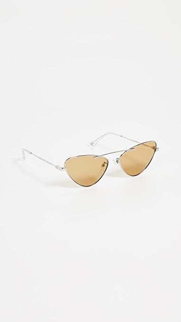 McQ - Alexander McQueen Metal Narrow Cat Eye Sunglasses