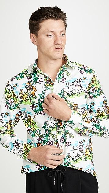 McQ - Alexander McQueen Long Sleeve Rollins Holy Sheep Print Shirt