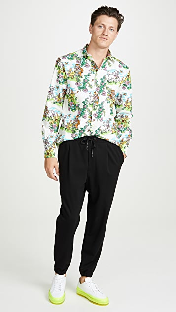 McQ - Alexander McQueen Long Sleeve Rollins Holy Sheep Print Shirt