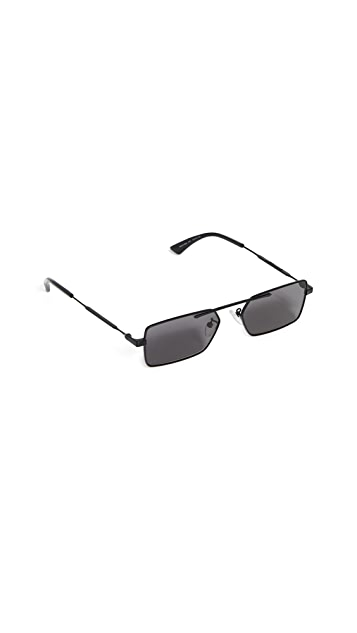 McQ - Alexander McQueen Narrow Metal Rectangular Sunglasses