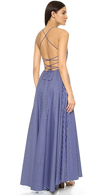 MDS Stripes Crisscross Ball Gown