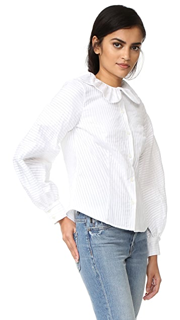 MDS Stripes Peasant Sleeve Blouse