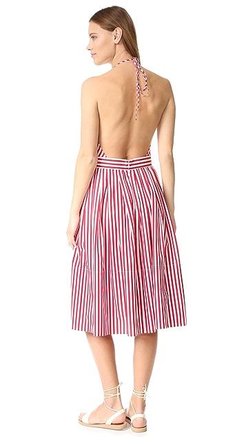 MDS Stripes V Neck Halter Dress