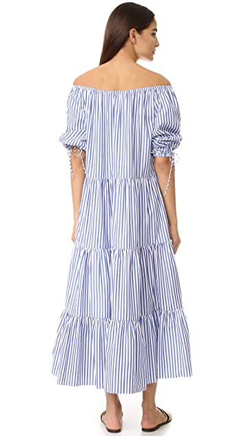 MDS Stripes Tiered Peasant Dress