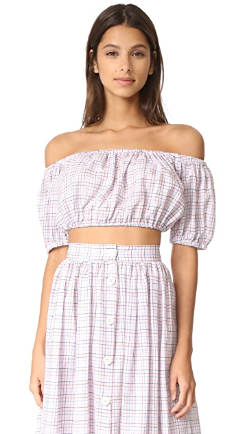 MDS Stripes Cropped Peasant Top