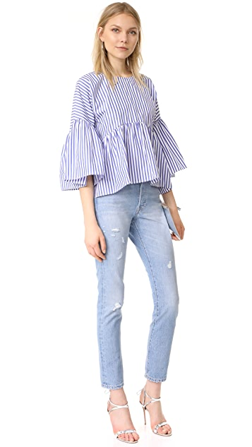 MDS Stripes Bell Sleeve Ruffle Top