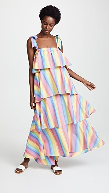 MDS Stripes Tiered Cami Dress