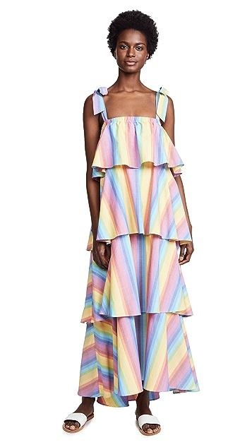 MDS Stripes Tiered Cami Dress