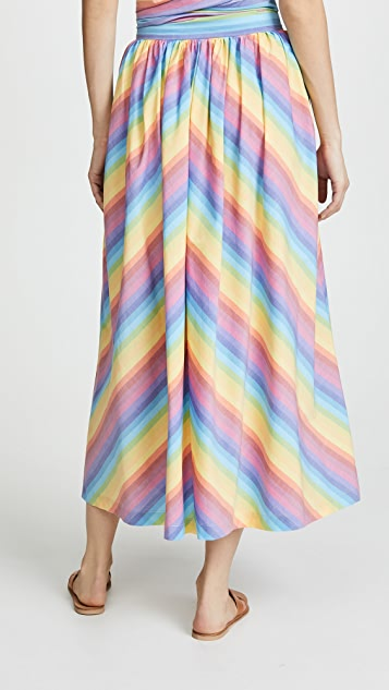 MDS Stripes Button Front Skirt