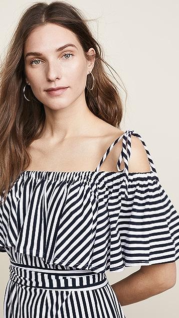 MDS Stripes Rebecca Ruffle Dress