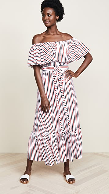 MDS Stripes Rebecca Ruffle Dress