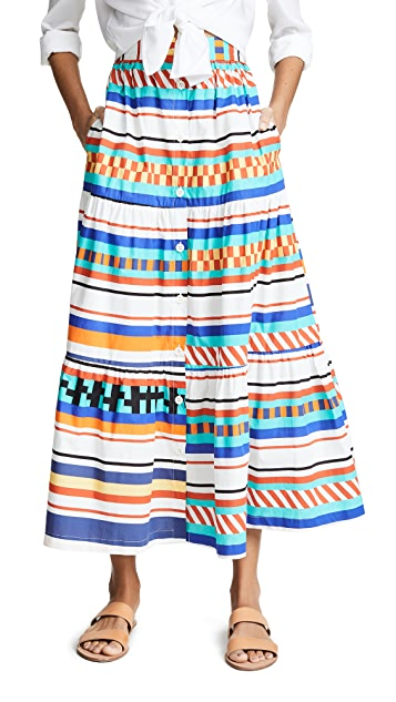 MDS Stripes Tiered Button Front Prairie Skirt