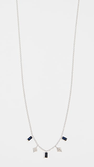 Meira T 14k White Gold Drop Necklace - White Gold/Black