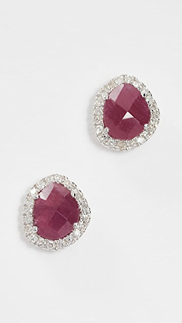 Meira T 14k Gold Ruby & Diamond Stud Earrings - Ruby