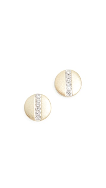 Meira T 14k Diamond Bar Disc Studs