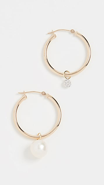 Meira T Pearl & Diamond Disc Charm Hoops