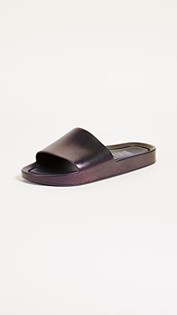 Melissa Beach Slide Shine Sandals - Red Wine Iridescent