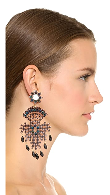 Mercedes Salazar Black Fiesta Earrings