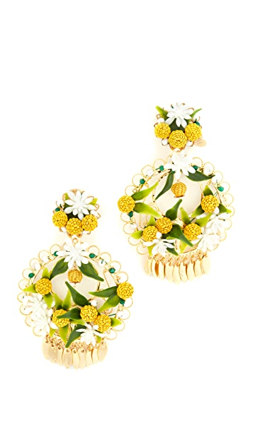 Mercedes Salazar Fiesta Lemon Clip On Earrings