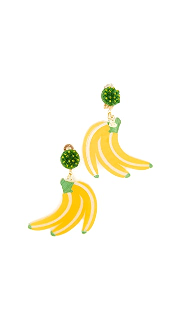 Mercedes Salazar Fiesta Banana Clip On Earrings
