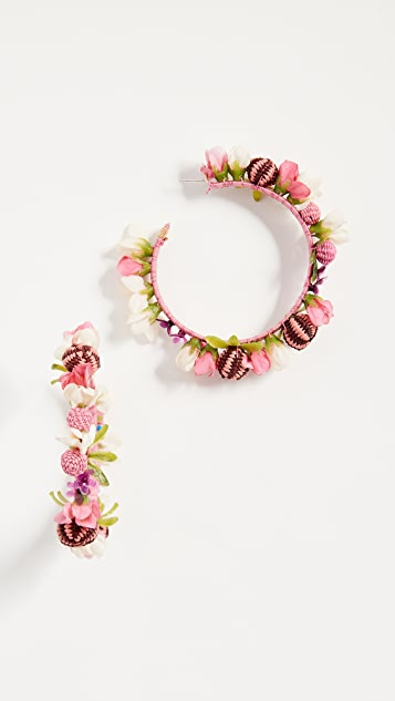 Mercedes Salazar Blushing Roses Hoop Earrings
