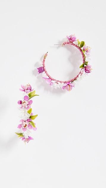 Mercedes Salazar Enchanted Lilies Hoop Earrings - Multi