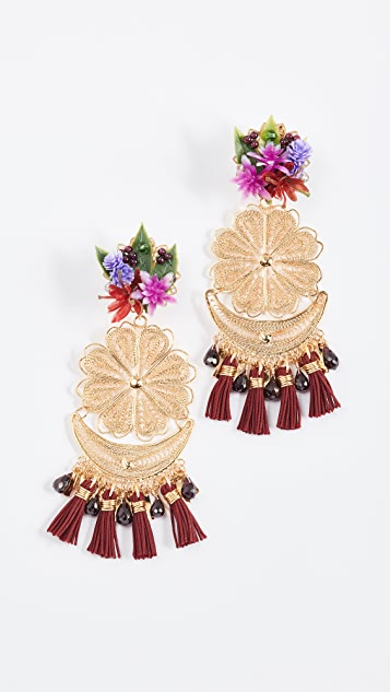 Mercedes Salazar Berry Bougainvillea Clip On Earrings