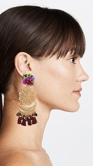 Mercedes Salazar Berry Bougainvillea Clip On Earrings