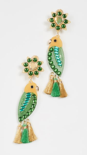 Mercedes Salazar Periquito de Santa Marta Earrings - Green/Yellow