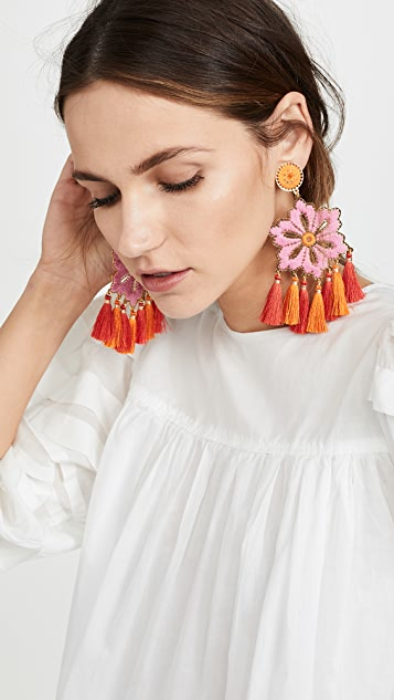 Mercedes Salazar Hibiscus Rosa Earrings