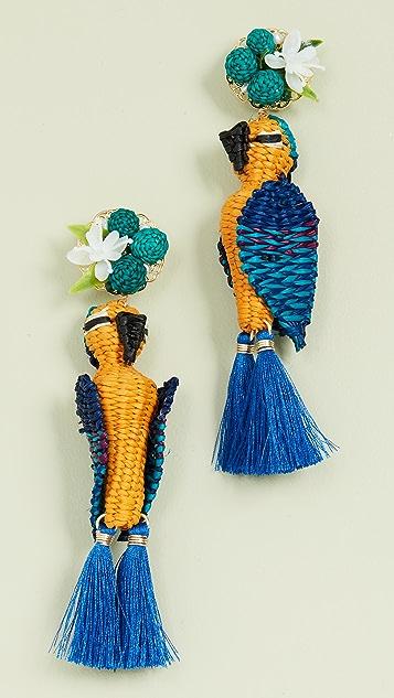 Mercedes Salazar Серьги в виде тропических птиц