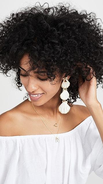 Mercedes Salazar 3 个贝壳线性坠饰耳环