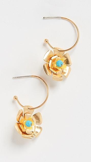 Mercedes Salazar Маленькие серьги-кольца с подвесками в виде цветов