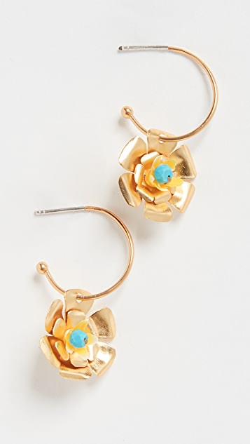 Mercedes Salazar Small Flower Charm Hoops