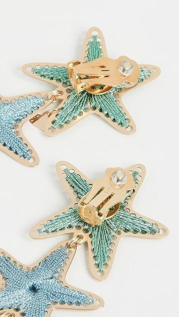 Mercedes Salazar Длинные серьги-капли в виде морских звезд