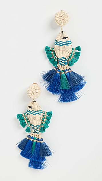 Mercedes Salazar 蓝色小鱼耳环