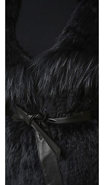 YVES SALOMON - METEO Rabbit Fur Hooded Vest