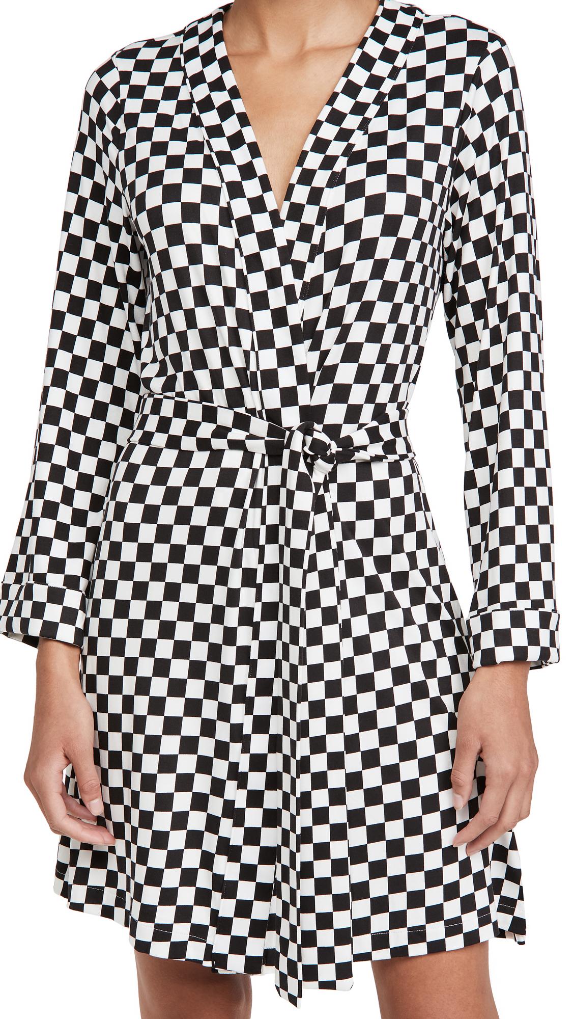 Mason Grey Classic Short Checker Robe
