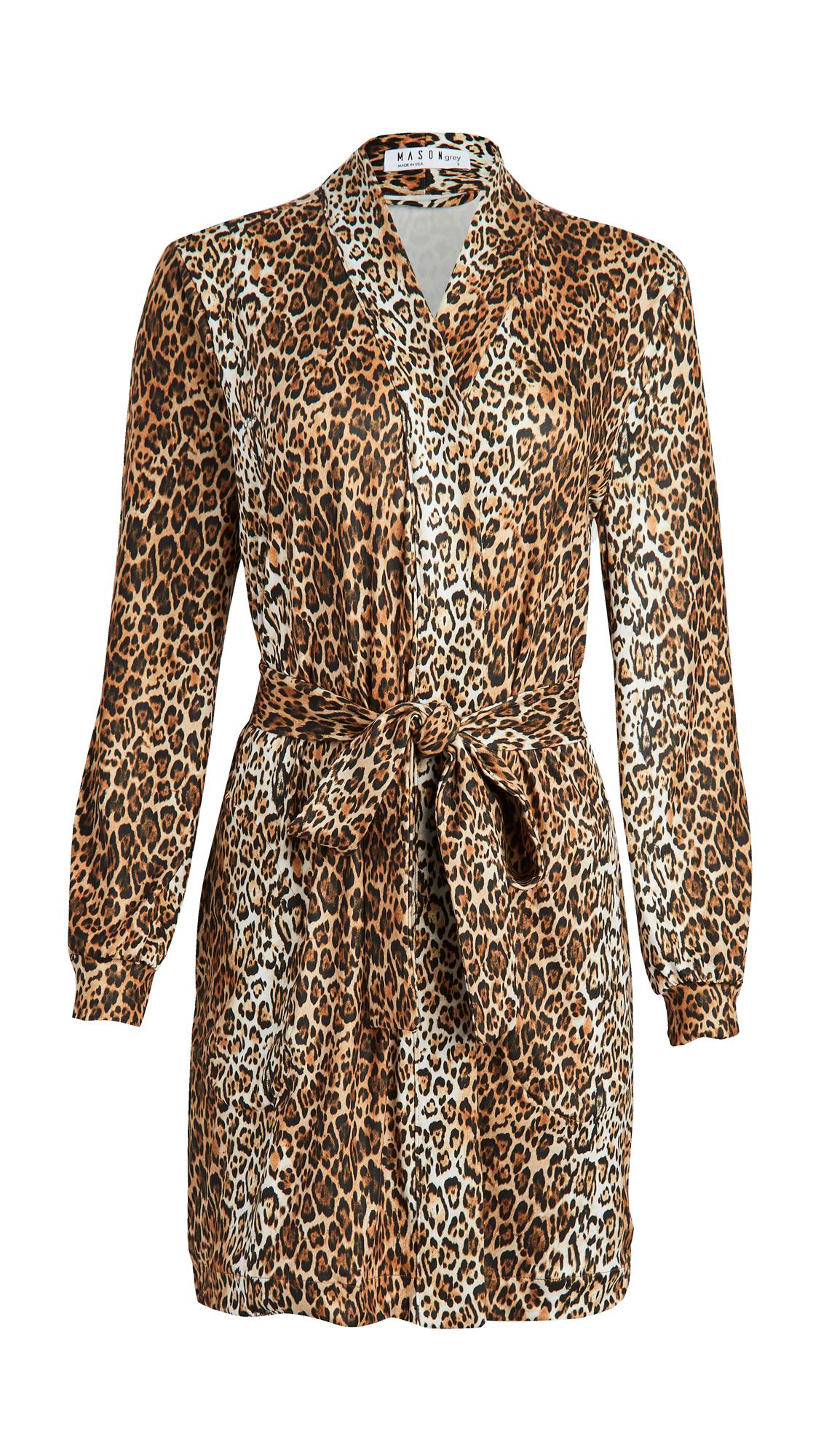 Mason Grey Banded Short Robe