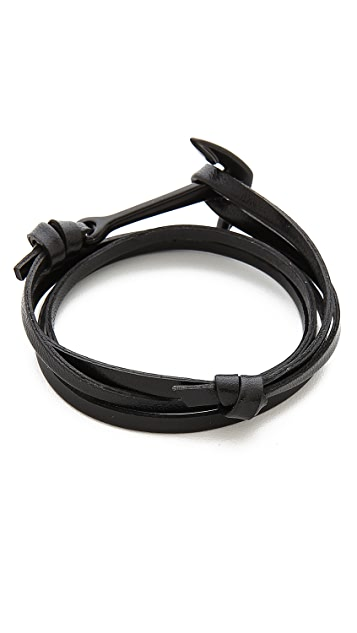 Miansai Anchor Leather Wrap Bracelet