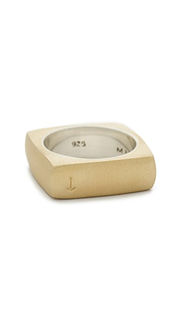 Miansai Tumbled Brass Square Ring