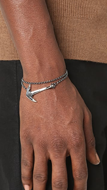 Miansai Sterling Silver Anchor on Chain Bracelet