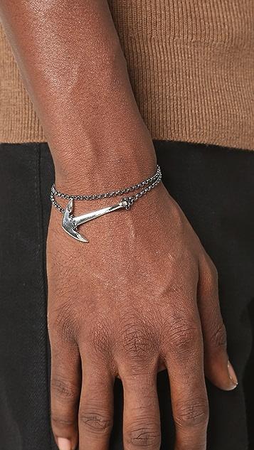 Miansai Sterling Silver Anchor on Chain Bracelet
