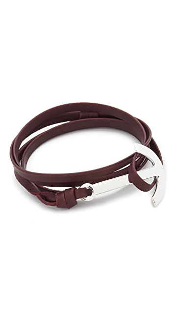 Miansai Modern Anchor Leather Wrap Bracelet