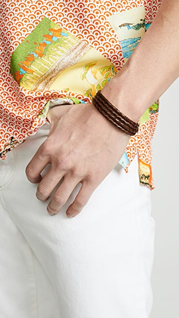 Miansai Trice Woven Leather Wrap Bracelet