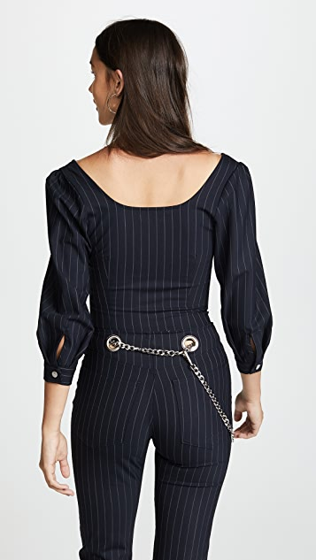 Miaou Demi Long Sleeve Pinstripe Top